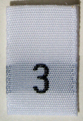White Woven Clothing Sewing Garment Label Size Tags - 3 - THREE (50-1000pcs)