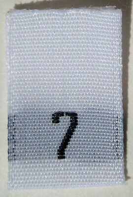 White Woven Clothing Sewing Garment Label Size Tags - 7 - SEVEN (50-1000pcs)