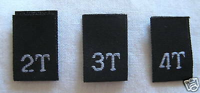 Black Bundle 2T 3T 4T Woven Toddler Clothing Sewing Garment Label Size Tags (50-1000pcs)