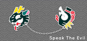 Speak The Evil: Chain connected Enamel Pin