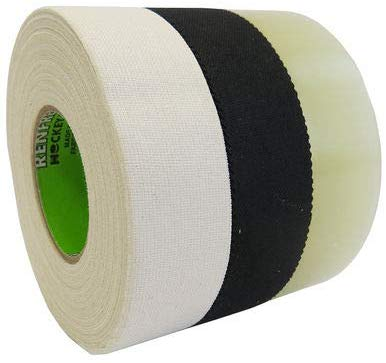 "Cloth Hockey Tape 3-Pack, Black & White Cloth, and Clear polyflex 1"" x 25m - Primo Hockey"