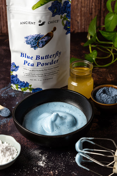 Dalgona Blue Matcha foam whipped into soft peaks and colored with butterfly pea powder.