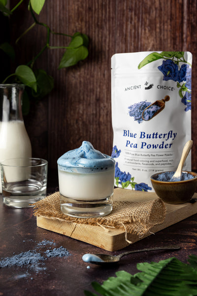 Dalgona Blue Matcha made with Ancient Choice Butterfly Pea Powder.