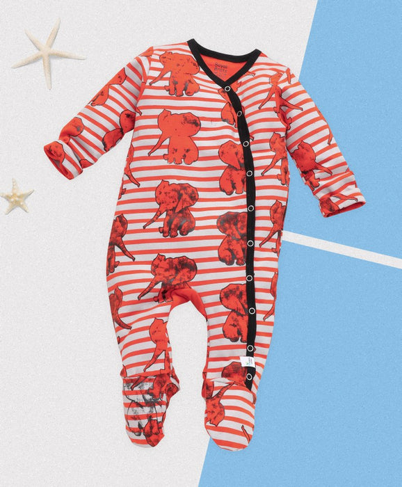 Royal Brats Full Bodysuit - Orange Base with Elephant Print