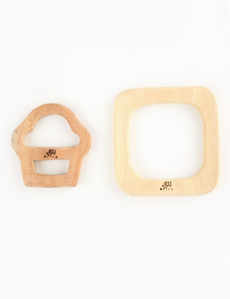 Wooden Teethers- Cupcake and square