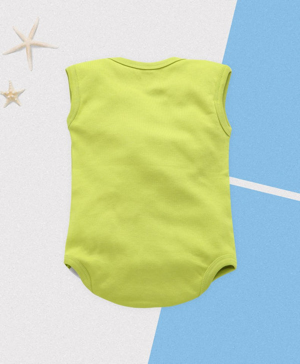 Royal Brats sleeveless Romper - Green Base with Fox Print