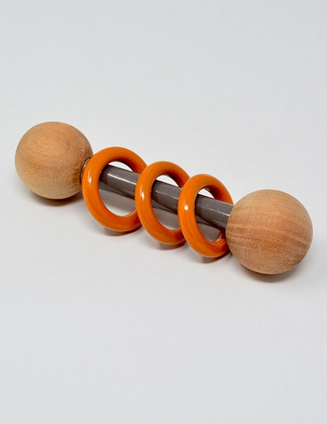 Ariro Wooden Dumbbell Rattle – Grey and Orange