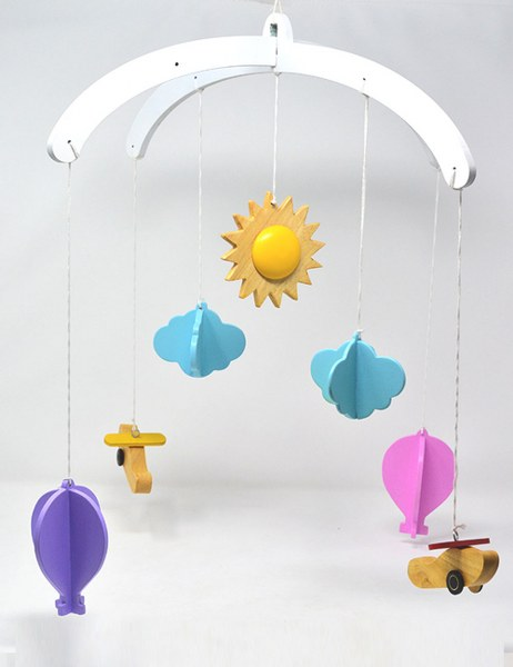 Ariro Wooden Mobile -  Hot Air Balloon and Plane