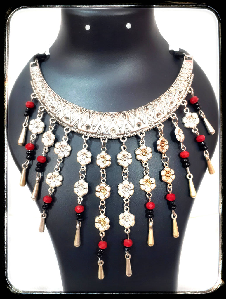 Beads N Threads - Unique Oxidized Choker with Charms and Red Crystals and Black beads hanging from the choker for Women and Ladies.