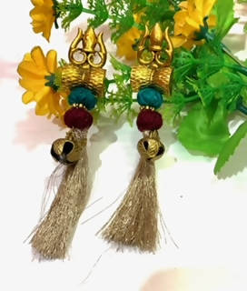 Beads N Threads- Shivji ka Dumro and Trishul with antique bells and tassel earrings