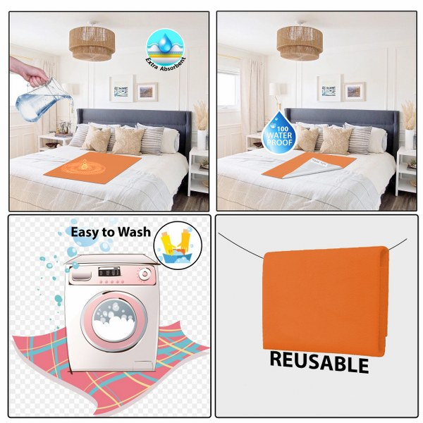 Baby Mat Bed Protector Waterproof Sheet Reusable Absorbent Dry Sheet (Peach, Large, 100 x 140 cm)