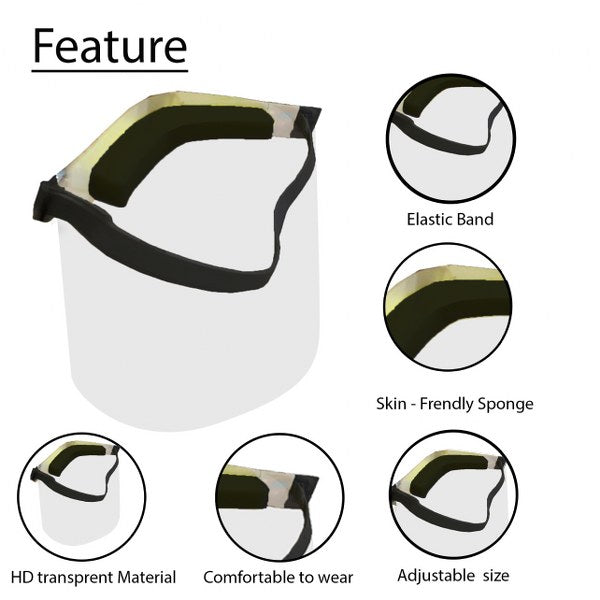 Face Shield For Kids, Protective Transparent Dustproof- Pack of 3
