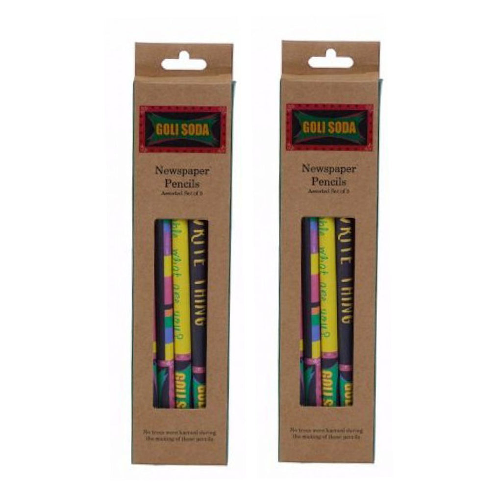 Upcycled Multicolor Newspaper Pencils (Pack of 10)