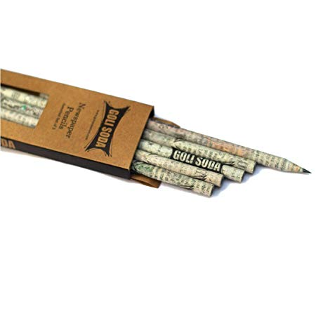 Upcycled Plain Newspaper Pencils (Pack of 10)