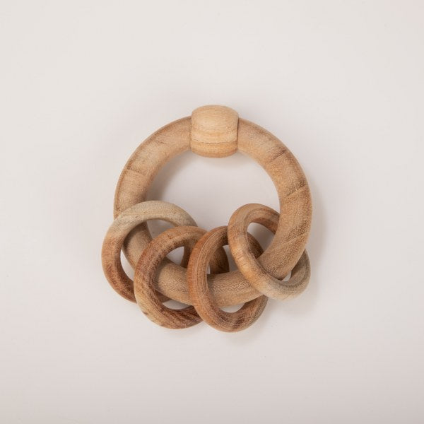 Wooden rattle-Circular natural