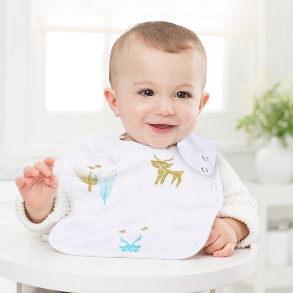 100% Organic Muslin Cotton Bibs with Three Layers (Reindeer)