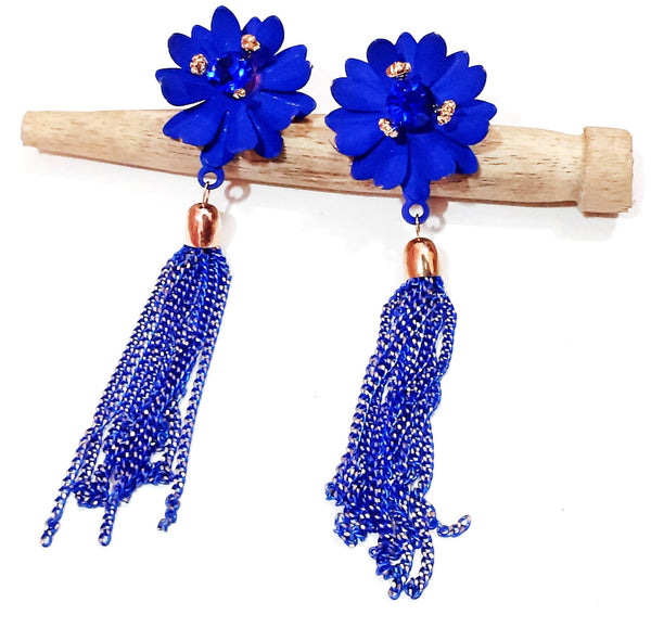 Beads N Threads - Blue flower stud with Blue and Golden Tassel for Women and Ladies.