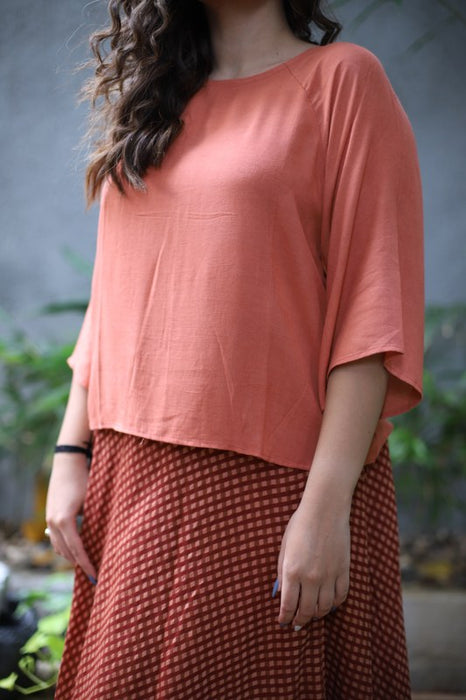 Cool Peach Malai Cotton Top with Cotton Silk Flared Skirt with Checks Print