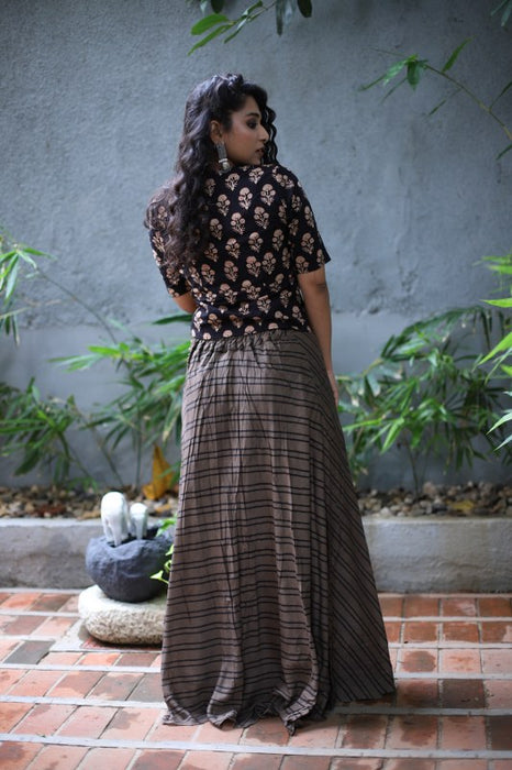 Whole Black Silk Skirt & Top with Classic Ajrakh & Lining Prints