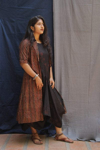 Rust Red Ajrakh Print Long Jacket with Long Unique Styled Inner