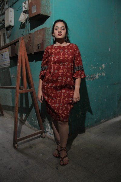 Rust Red Flower Print Short Swift Dress