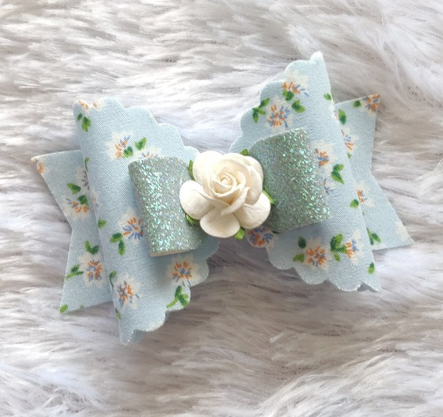 Floral Magic Bow Clip - Baby Blue