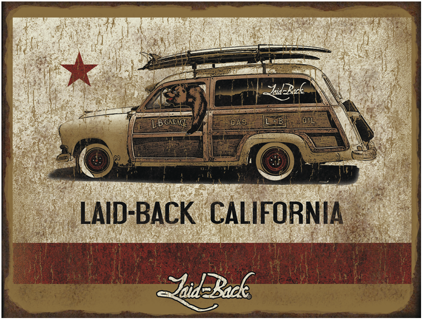 Cali Flag Woodie-12x16 Metal Sign