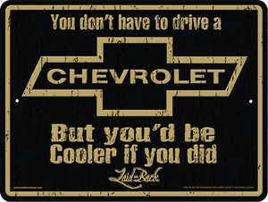 Cooler Chevy-Embossed Metal Sign