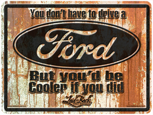 Rusty Cooler Ford-Embossed Metal Sign