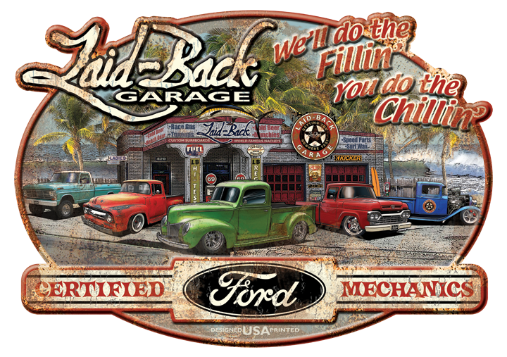 Dream Garage Ford Trucks-Embossed Metal Sign