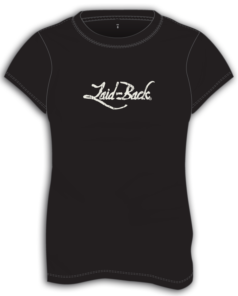 Laid-Back Logo Off White on Black-Ladies T-Shirt