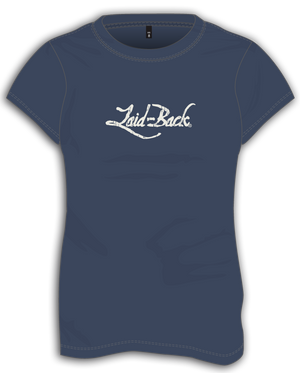 Laid-Back Logo Off White on Navy-Ladies T-Shirt