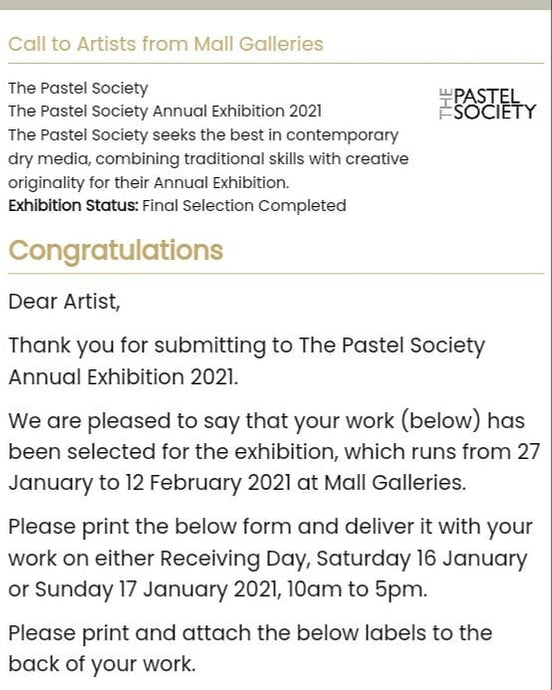 Mall Galleries Pastel Society 2021 selection!