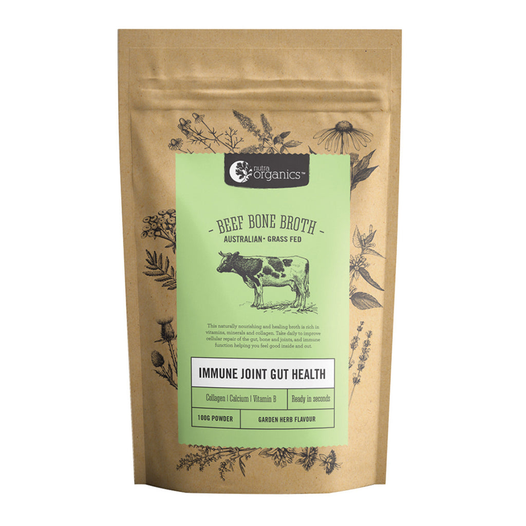 Beef Bone Broth Herb & Garlic Powder 100g Nutra Organics - Broome Natural Wellness