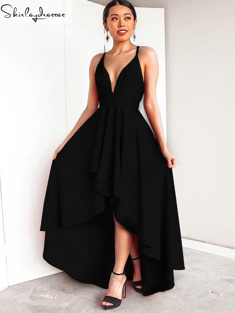 shirleydresses Elegant Black Prom Dresses Sexy  Prom Dress V-Neck Elastic Satin Backless Beach Banquet Evening Party Gown