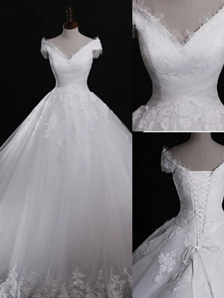 shirleydresses White Lace Classic Style Off Shoulder Lace Up Vitage A-line wedding dresses