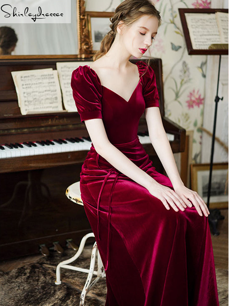 shirleydresses Red velvet long Prom Dress 2020 love collar cross back formal party dress customization, cheap Prom Dress