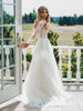 Shirleydresses A-line Long Sleeve Lace See Through Wedding Dresses Backless Country Wedding Dress