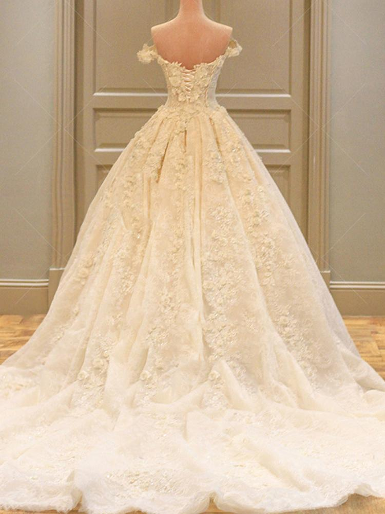 shirleydresses Wedding Dress Neck Wedding Gowns Lace Long Train Wedding Dress