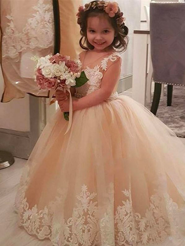 Shirleydresses Cute Lace Flower Girl Dresses Weddings Princess Tulle Appliqued Lace Beaded Sash Kids Floor Length