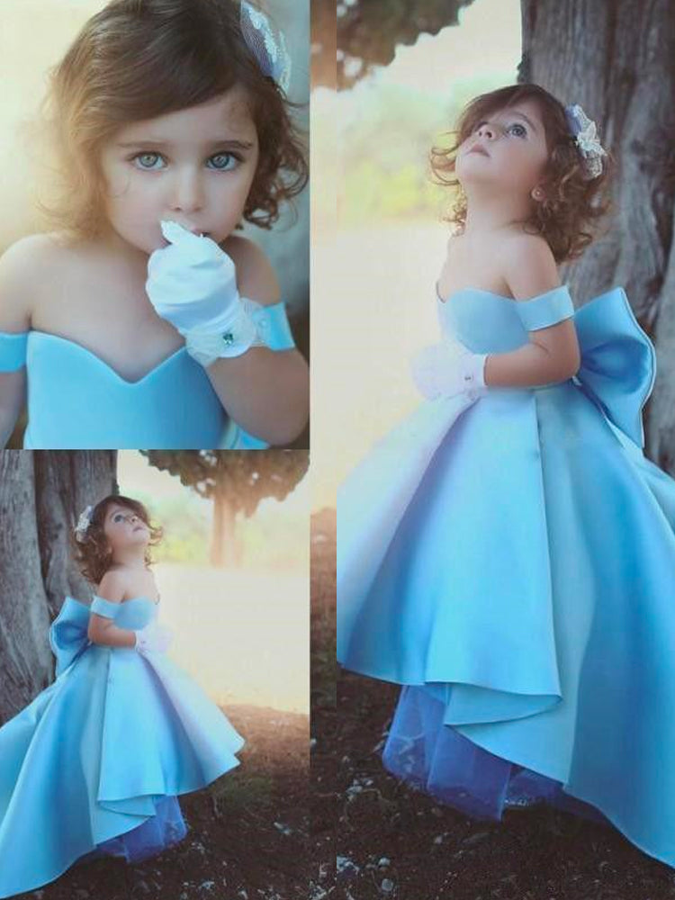 shirleydresses Sweet Sky Blue Girl Pageant Dresses Off the Shoulder Flower Girls Dresses Kids Formal Wear Bow Back Baby Birthday