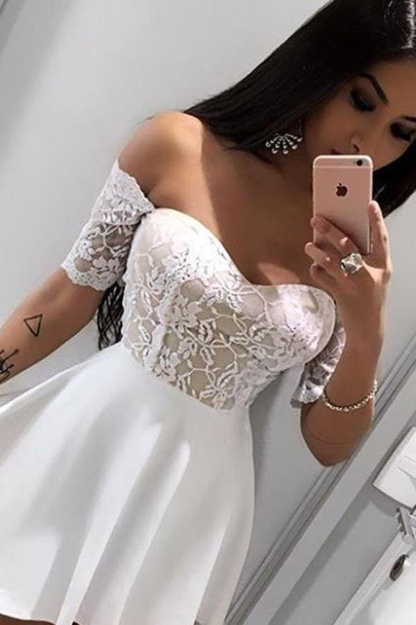 White Off Shoulder Short Sleeve Homecoming Dresses with Appliques, MH390