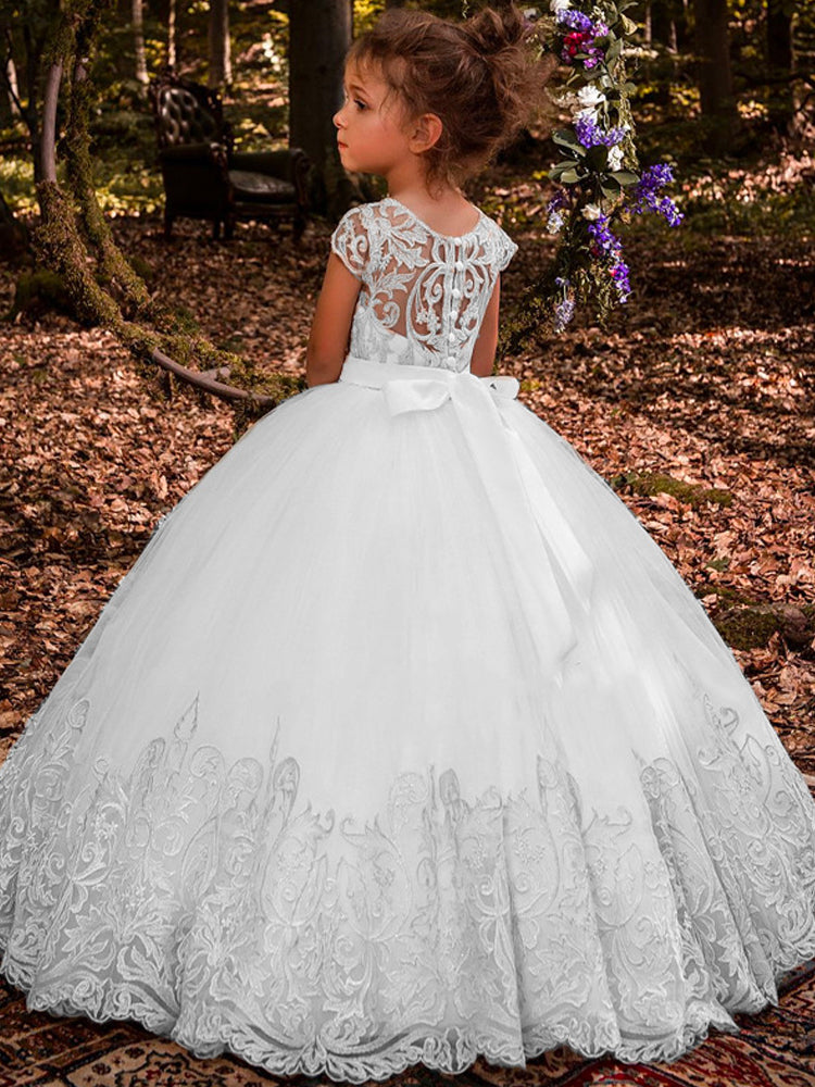 shirleydresses sweet Gold Lace Long Flower Girl Dresses For Wedding Crystal Beads Ball Gown Girls First Communion Gowns