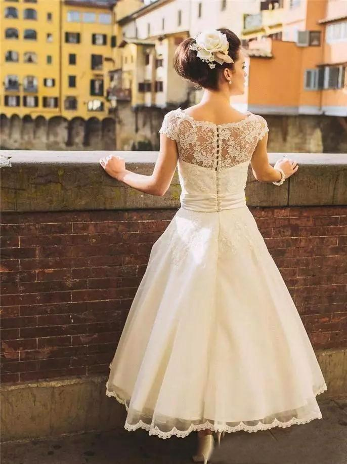 Shirleydresses Short-sleeved lace wedding dress Length Wedding Dresses A-line Scoop Lace Romantic Wedding Dress