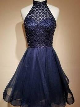 Beautiful Homecoming Dress High Neck Beading Sexy Short Prom Dress Party Dress JK429