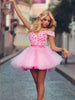 Beautiful Homecoming Dresses Hand-Made Flower Pink Short Prom Dress Party Dress JK705