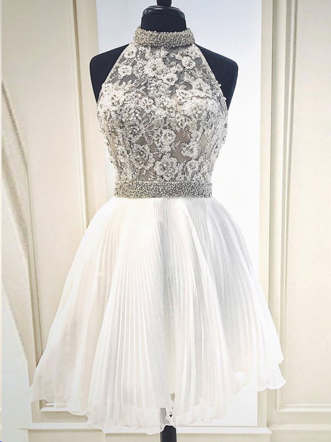 Beautiful Homecoming Dresses High Neck Lace Beading Short Prom Dress Party Dress JK786