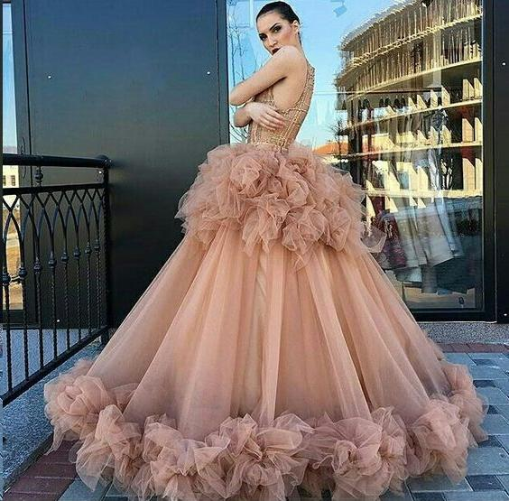 Scoop Ruffles Long Beautiful Sparkly Lace Prom Dress