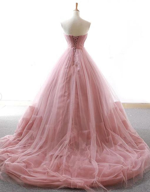 shirleydresses Prom Dresses Sweetheart Sweep Train Dusty Pink Long Fairy Prom Dress