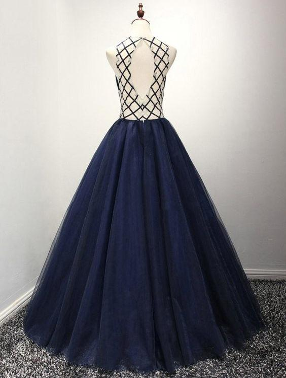 Beautiful Prom Dresses Scoop Floor-length Dark Navy Prom Dress/Evening Dress JKL317